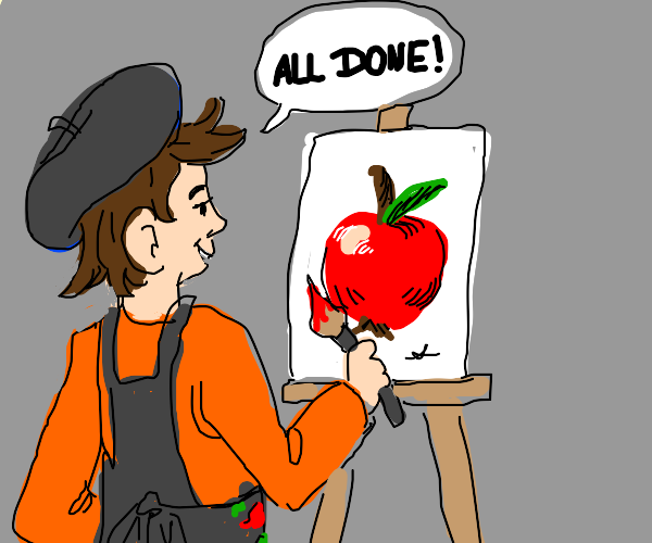 artist finishes an apple painting