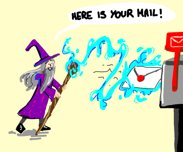 Wizard delivering mail