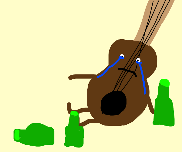 Guitar is depressed and drinks alcohol, beers