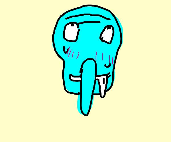 cute anime Squidward's ahegao face