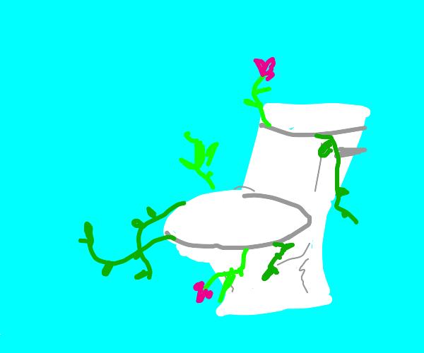 Overgrown plants in the plumbing