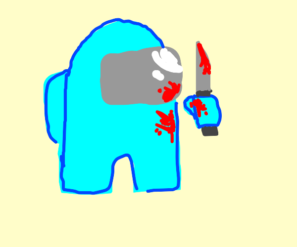 Cyan(among us)whith blood stains and a knife.