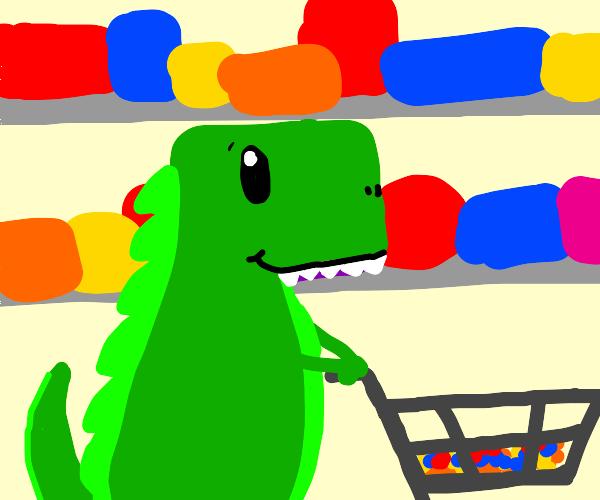 Dino on a shopping trip