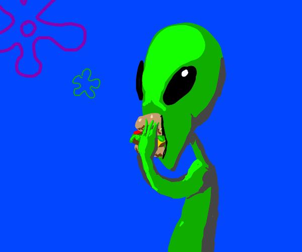 alien tries a krabby patty