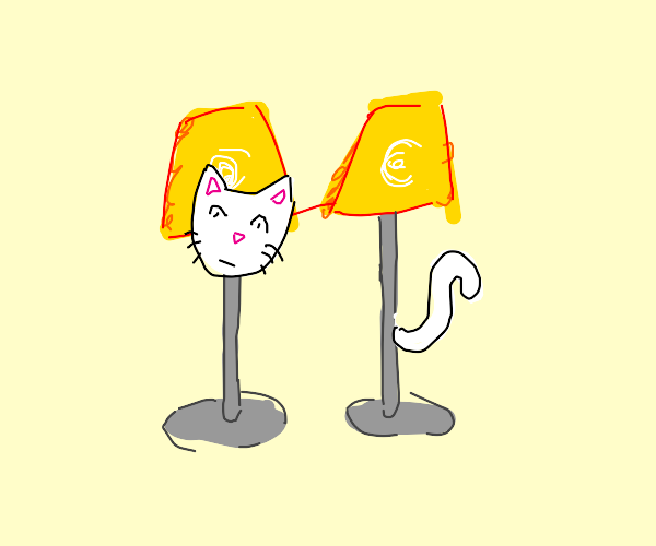 A cat mad of two lava lamps