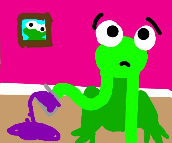 frog spills juice on the carpet