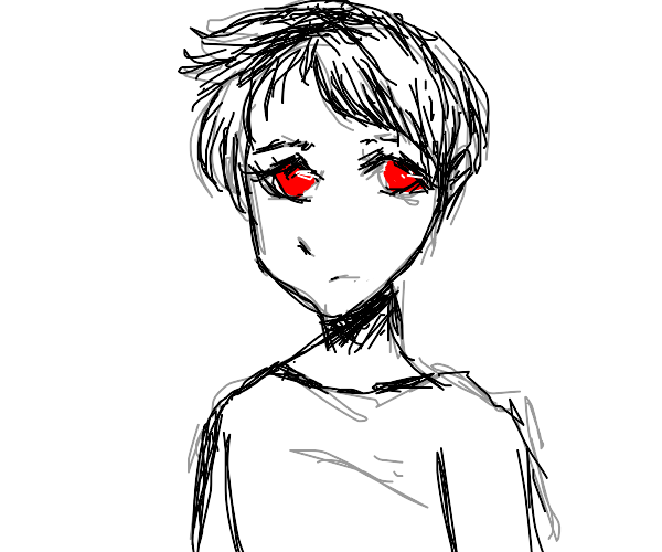 Anime boy has red eyes