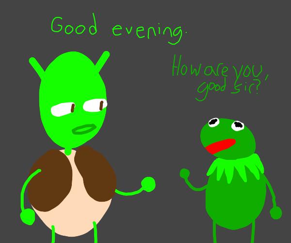 Shrek greets Kermit