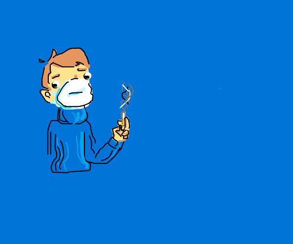 someone smoking through mask