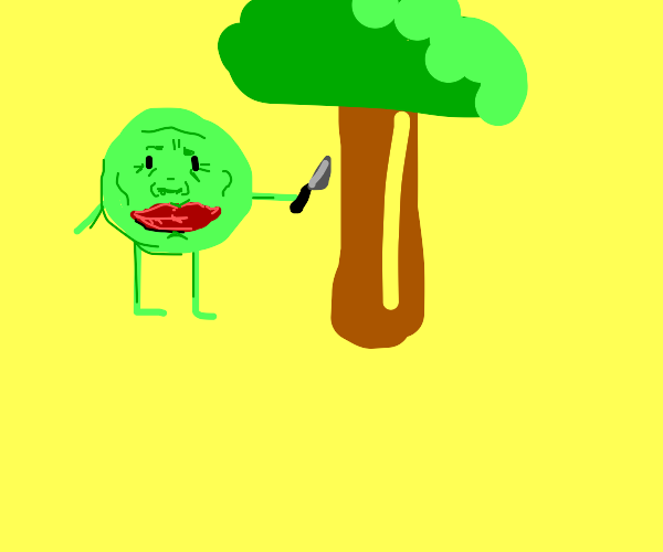 Big lips guy cutting a tree