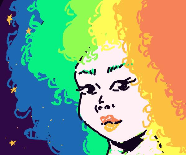 Girl with rainbow hair