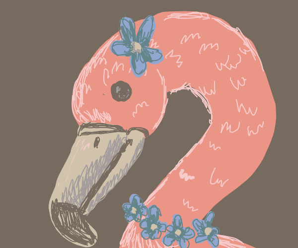 Flamingo with  blue flowers as accessories