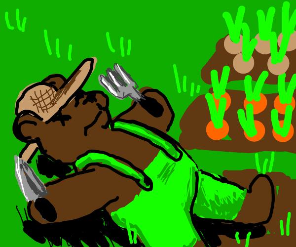 Bear dies whilst gardening