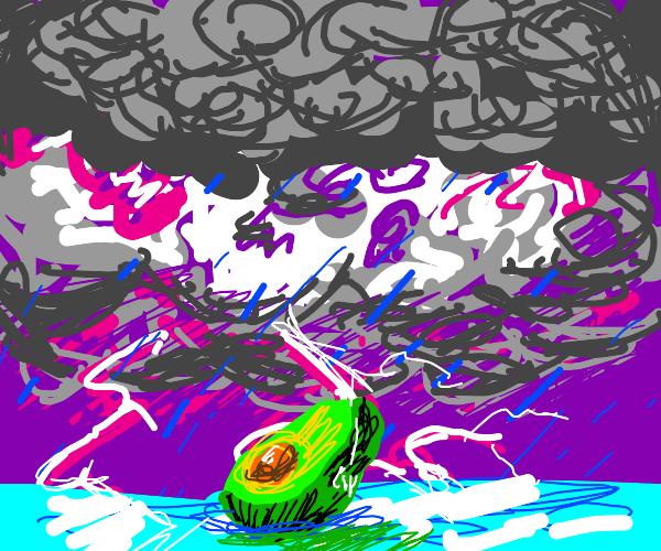 Avocado in a thunder storm