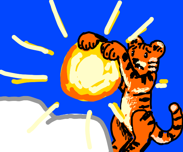 Tiger hangs out on the sun.