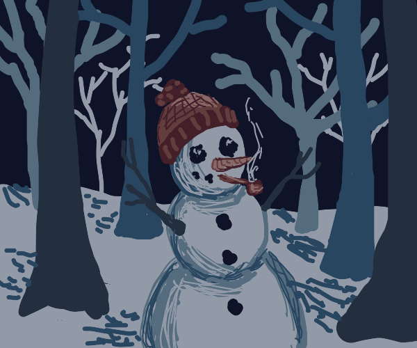 A snowman smoking in a forest