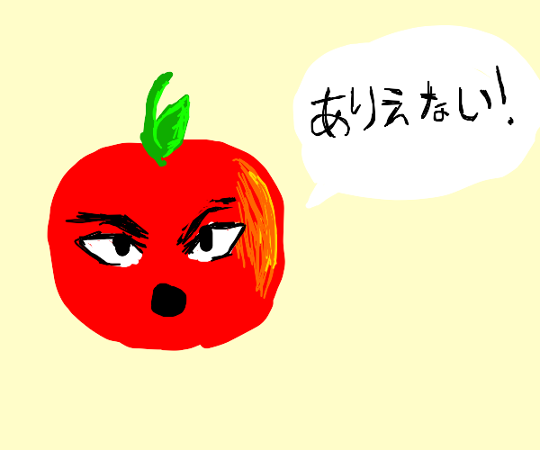 Angry apple talking japanese