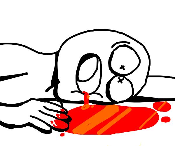 guy bleeding out of the floor