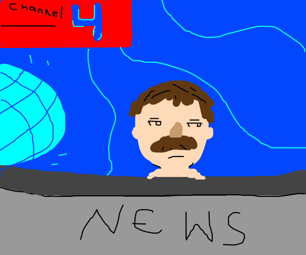 Channel 4 News w/ a guy with a moustache