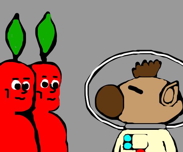 black oliver and red pikmen