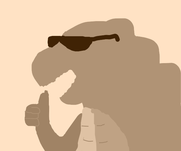 A very cool godzilla with sun glasses