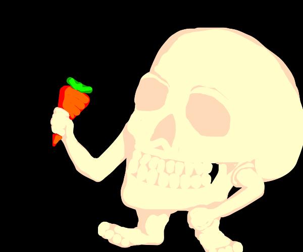 Skull man wielding a carrot