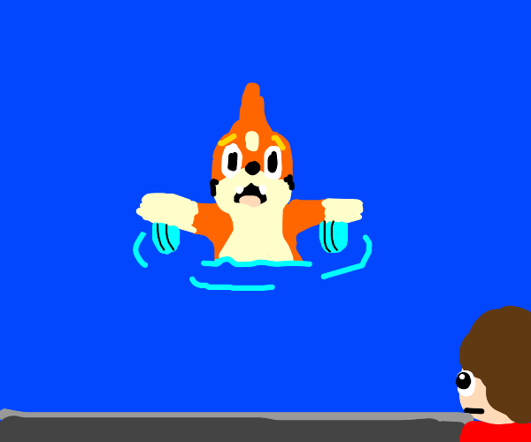 tubless Floatzel swimmin while watched