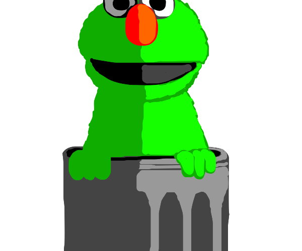 Green Elmo in a trash can