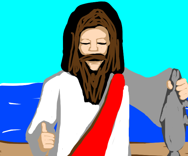 Jesus gives a fish a thumbs up