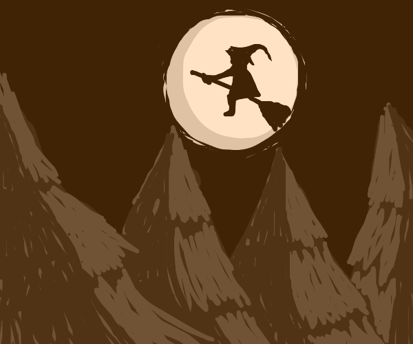 Witch flying over forest