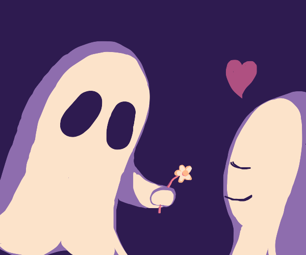 ghost giving ghost a flower