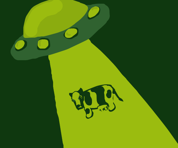 UFO about to abduct a cow