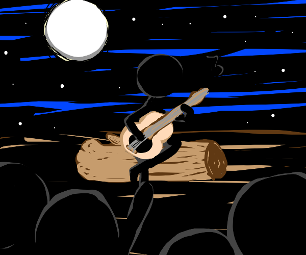 Stickman giving a concert at night