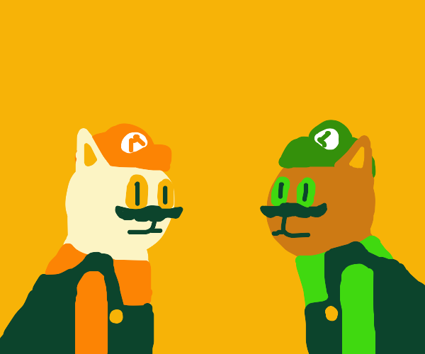 Mario and Luigi as cats