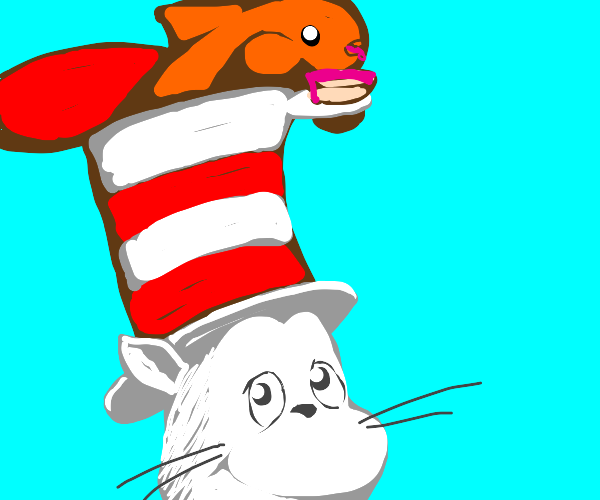 An angry fish in cat in the hat hat eats cake