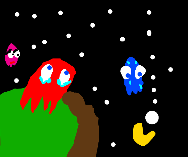 Blinky (pacman) gazes up at starry sky
