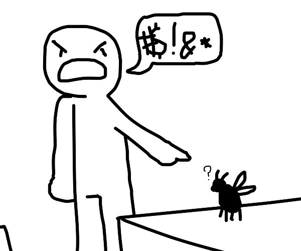 Swearing at an insect