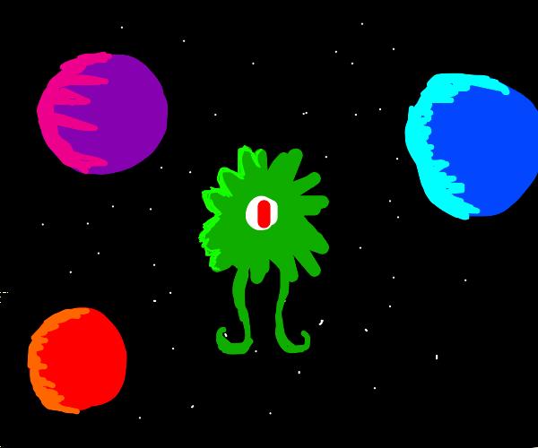 spiky alien in space