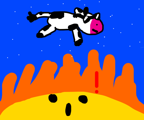 A cow jumping over the sun. Mod.