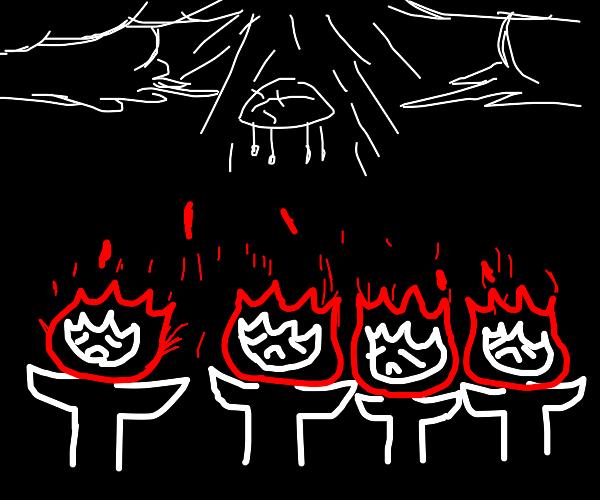 Four firey totems are sad