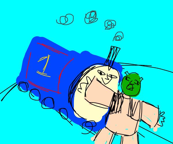 Thomas the train hits shrek