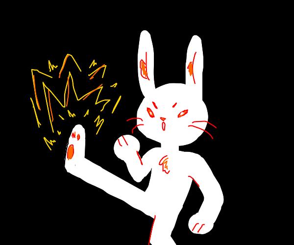 Badass bunny doing a badass bunny kick