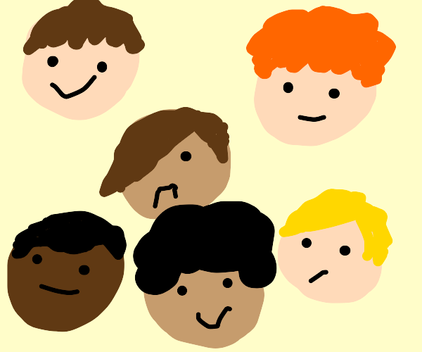 A lot of boy's faces.