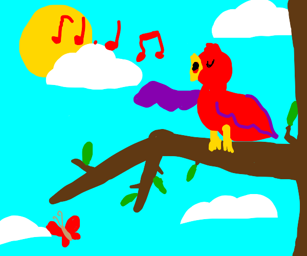 Singing bird is on a branch during the day