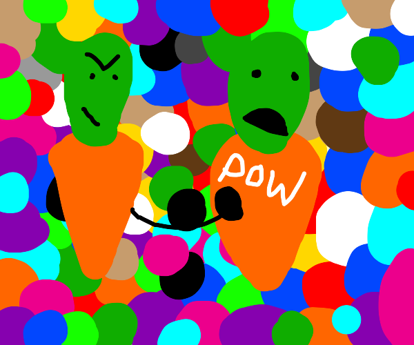 Carrot army attacks carrot in ball pit