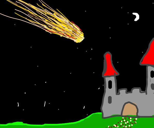 Meteor falling into a Castle