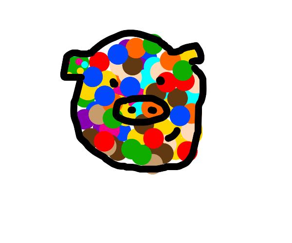 Multicolored pig