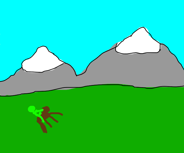 Green man rides a horse in the mountains