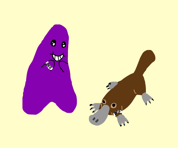 purple monster is friends with a platypus