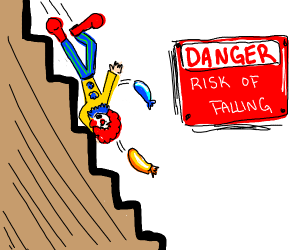 Clown falling down some steep stairs